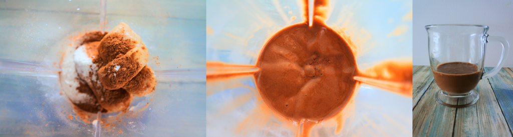 A composite image of the chocolate layer of the 6-Ingredient Neapolitan Milkshake