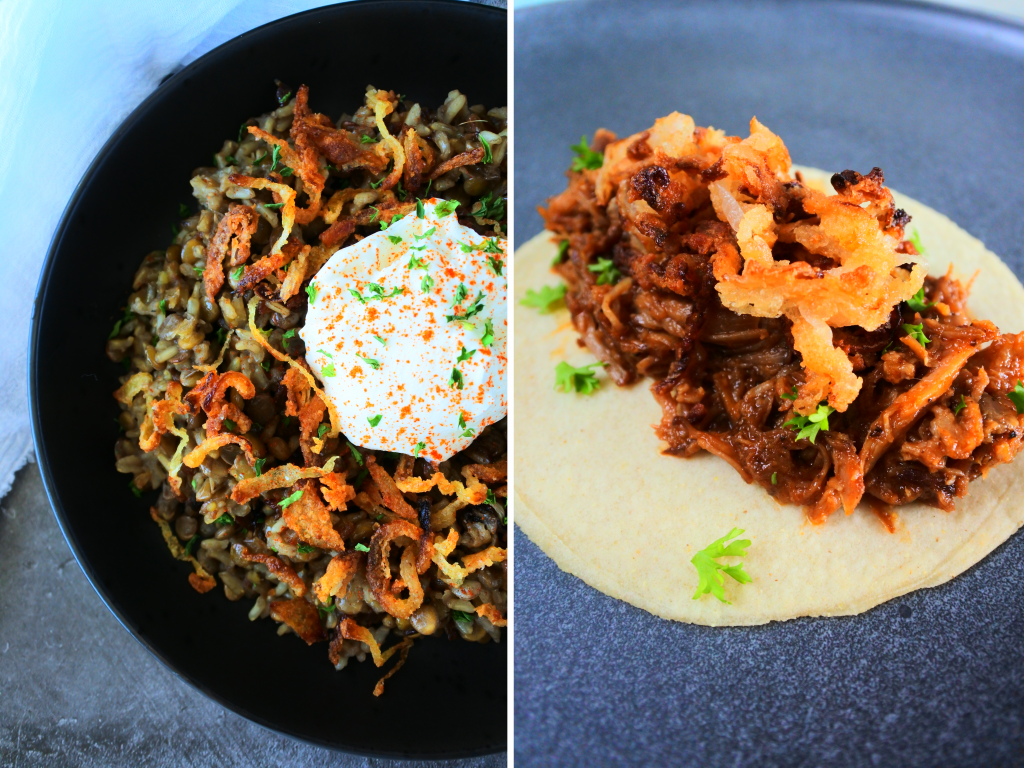 A composite image of crispy fried onions on a plate of mujadara and on a pulled pork taco