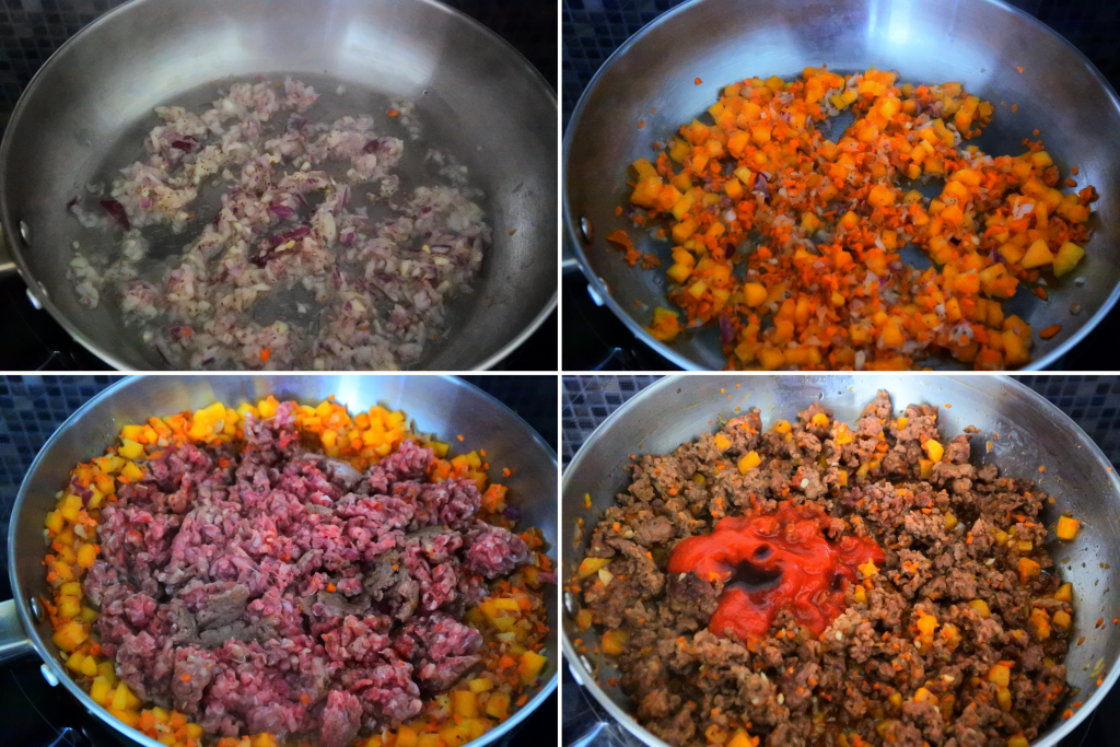 A composite image of meat filling for zucchini boats being made