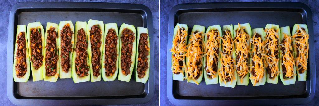 An composite image of zucchini boats next to each other on a tray before and after being topped with cheese