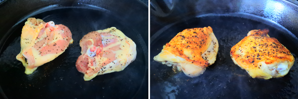 A composite image of salt and pepper chicken being browned and cooked in a pan