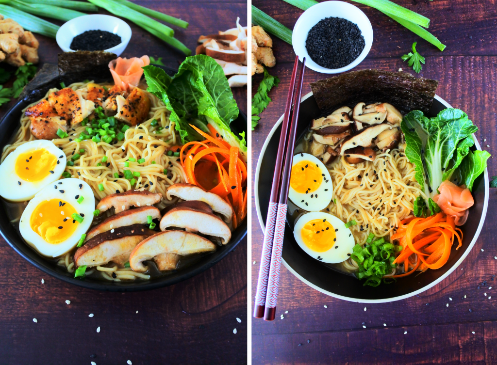 A composite image of two bowls of ramen