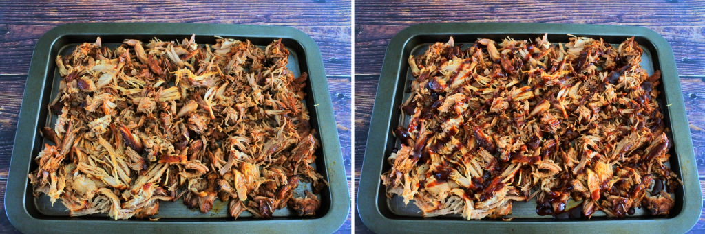 A composite image of shredded pork on a tray before and after being drizzled with homemade bbq sauce