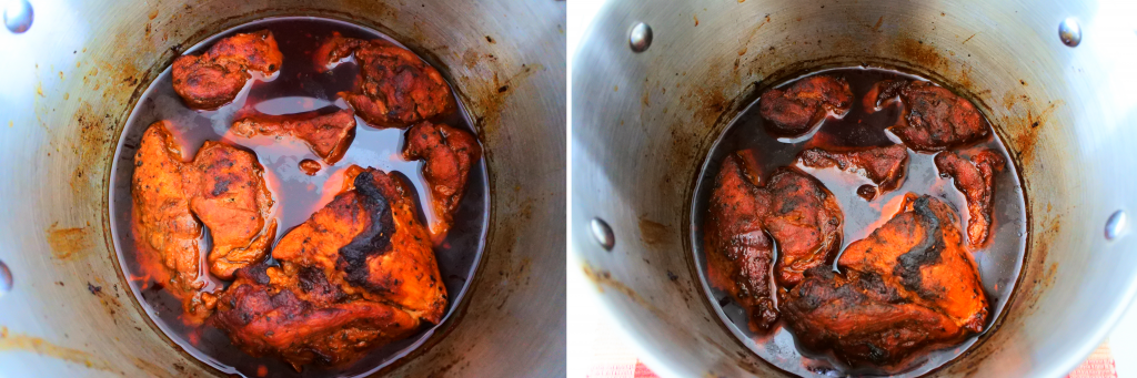 A composite image of seared and oven roasted pork after being covered and slow roasted, and after being uncovered and slow roasted another hour