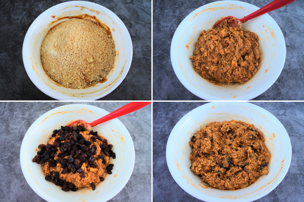 A composite image of wet and dry ingredients for an oatmeal raisin cookie being mixed together