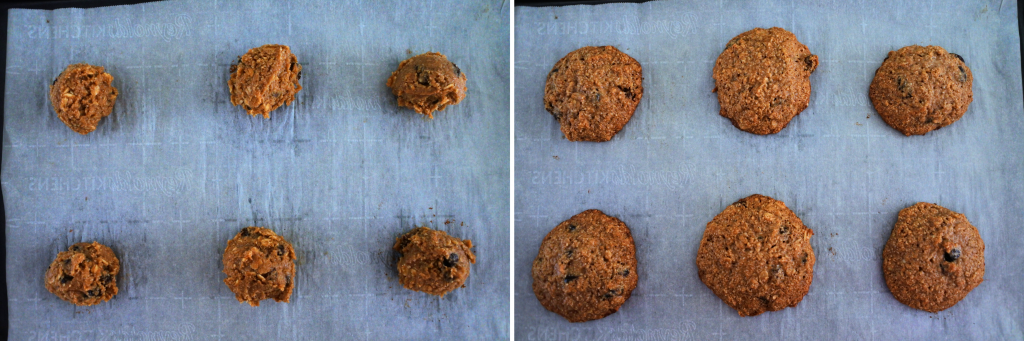 A composite image of oatmeal raisin cookie dough before and after being baked
