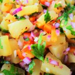 A close up image of fresh pineapple salsa