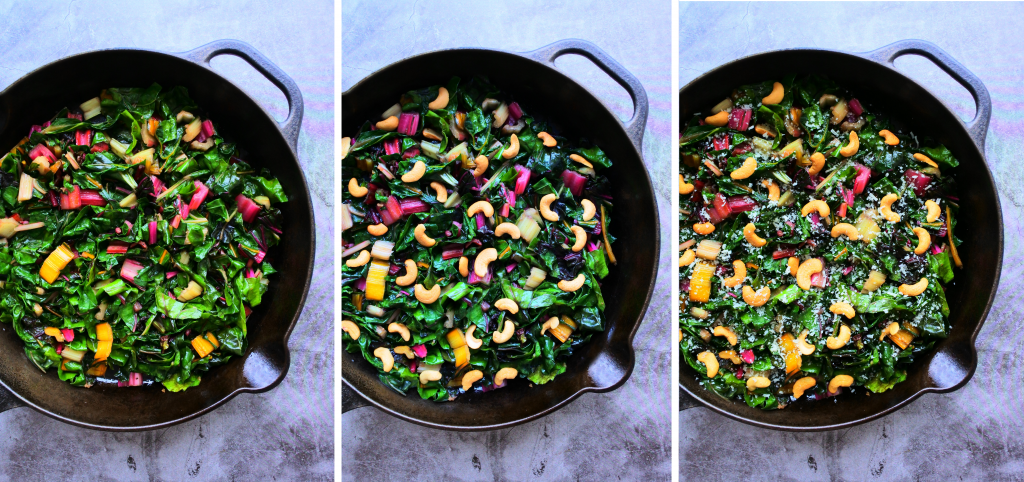 A composite image of rainbow swiss chard sauteed in a pan and being dressed with cashews and shredded cheese