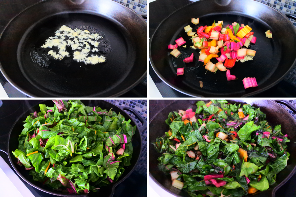 A composite image of a skillet with garlic being fried in oil and the various stages of chopped chard being sauteed and cooked down