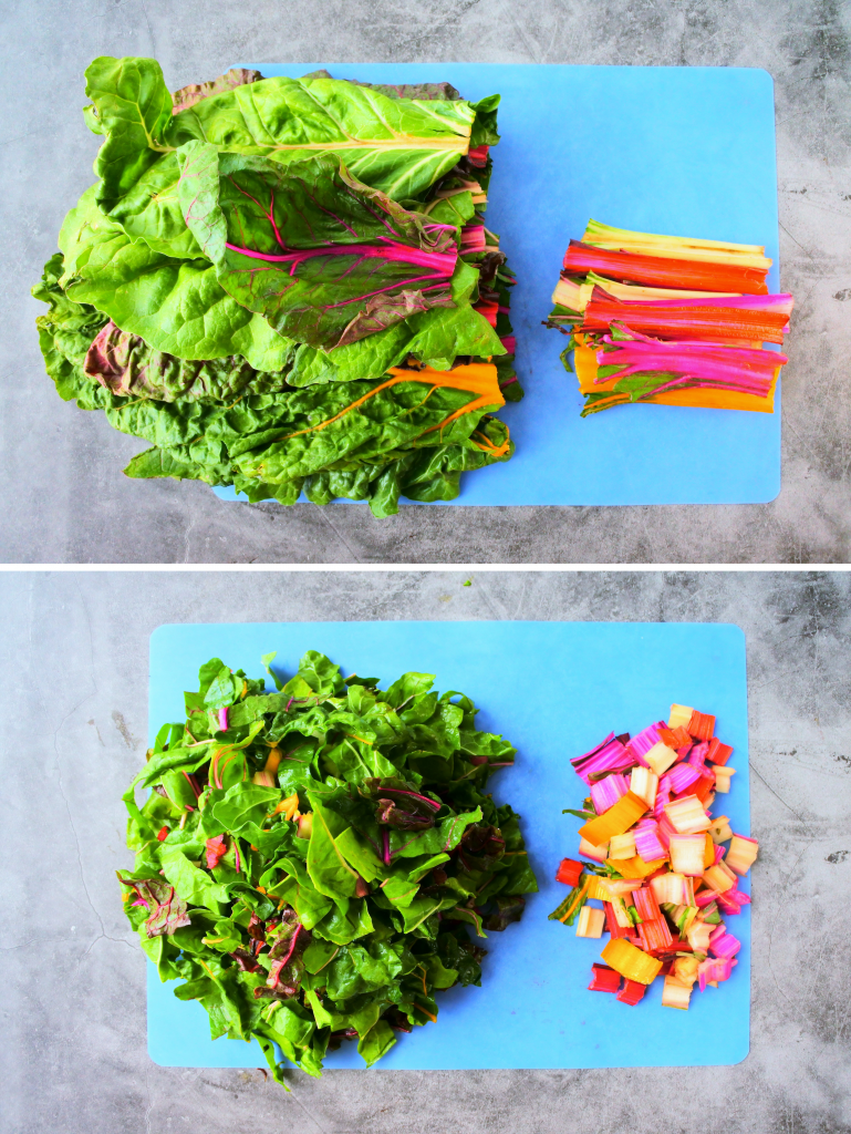 A composite image of a bundle of rainbow chard being chopped