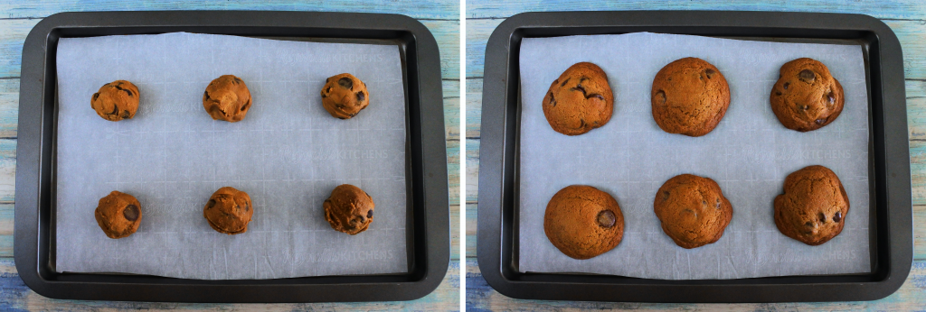 A composite image of a tray of half a dozen chocolate chip cookies before and after being baked