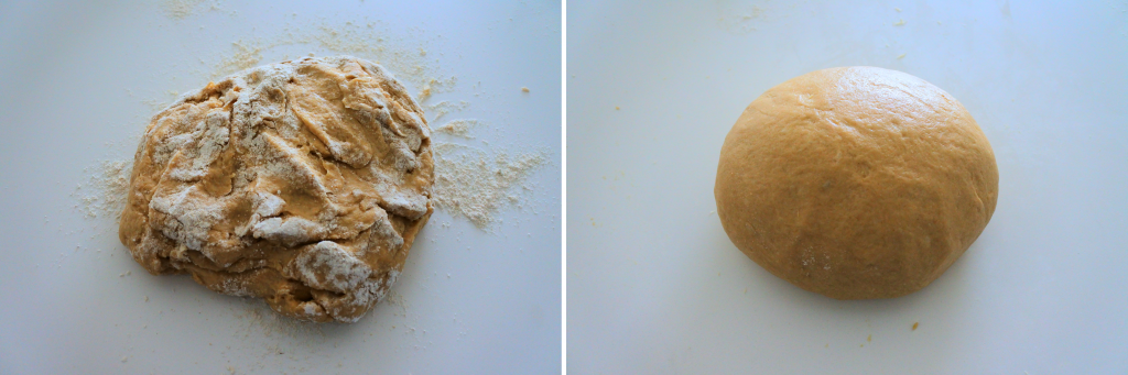 A composite image of dough for dinner rolls before and after being kneaded