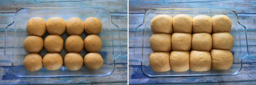 A composite image of dinner rolls before and after proofing