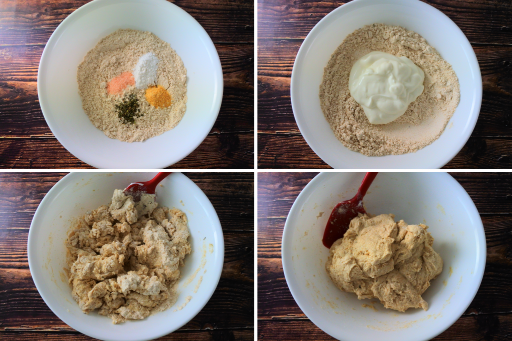 A composite image of ingredients for a simple ten minute whole wheat flatbread being mixed together into a dough