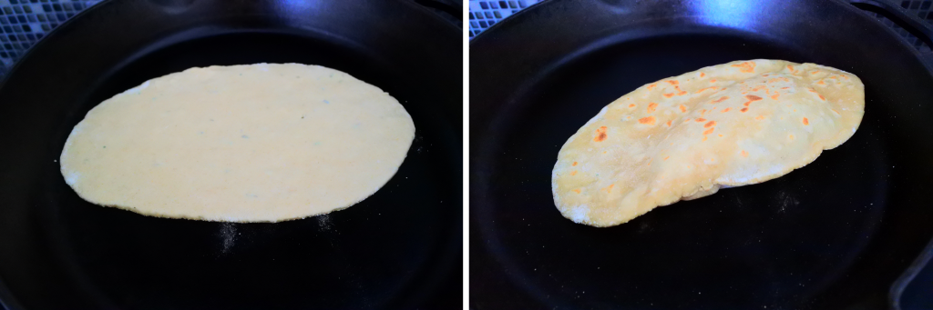 A composite image of a simple whole wheat flatbread being cooked in a cast iron skillet