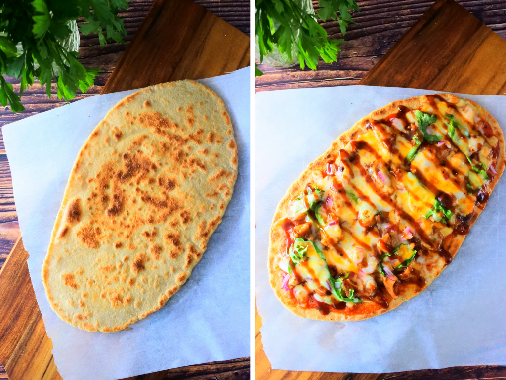 A composite image of a simple whole wheat flatbread before and after being topped with ingredients for pizza