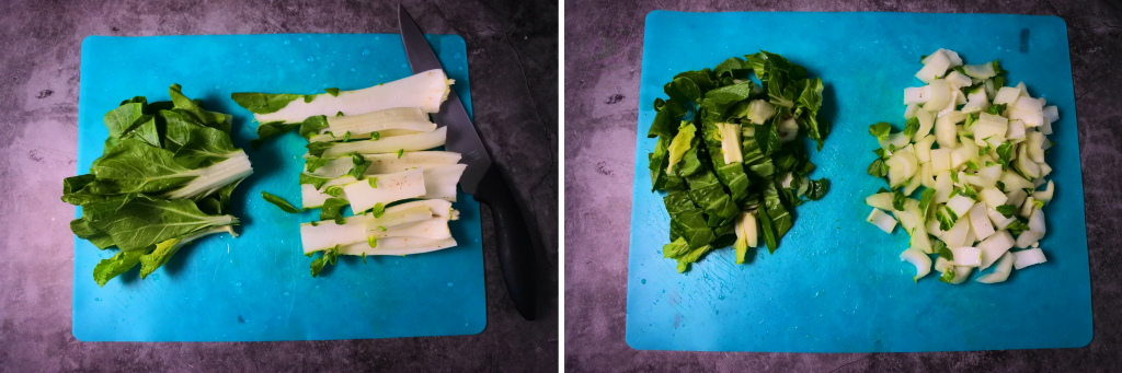A composite image of bok choy being chopped on a blue chopping mat