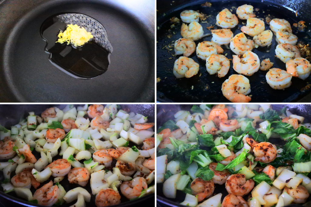 A composite image of shrimp and bok choy being stir fried in a skillet with ginger and garlic