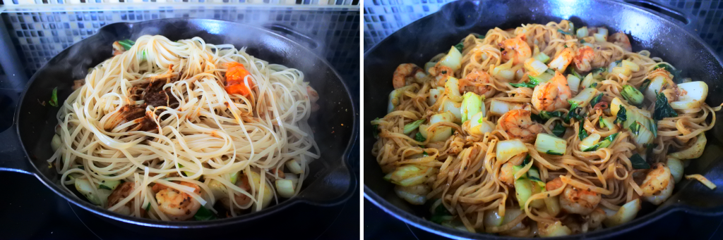 A composite image of noodles and leftover drippings being added into a skillet with shrimp and chopped bok choy