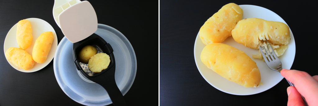 A composite image of boiled potatoes being mashed either by ricing or by using a fork
