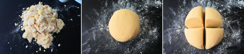 A composite image of gnocchi dough being kneaded and the dough formed and divided into 4 sections