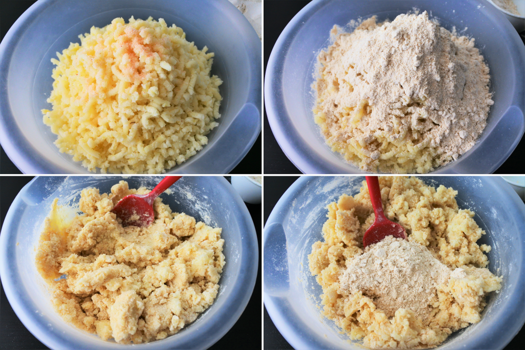 A composite image of the dough for potato gnocchi being made from the salt being added to half of the flour being mixed in first and the other half being added in.