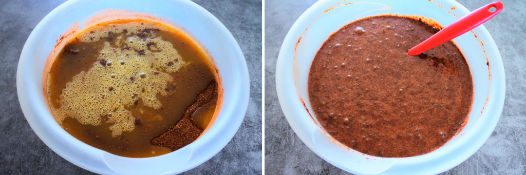 A composite image of the wet and dry ingredients for an almond flour chocolate cake being combined in a bowl