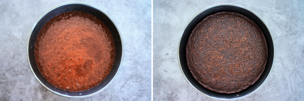 A composite image of batter for an almond flour chocolate cake in a greased pan before and after being baked