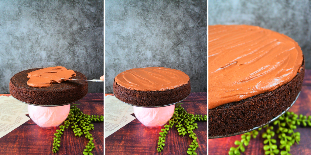 A composite image showing a cake being frosted and a close up of the frosting