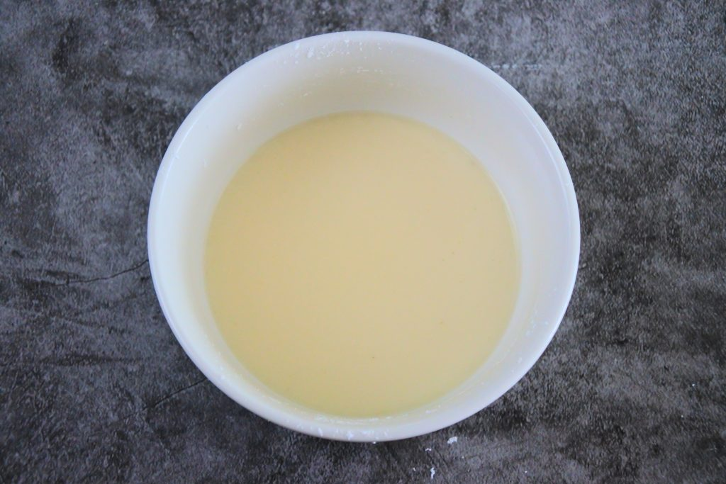 An overhead image of a stock and starch slurry