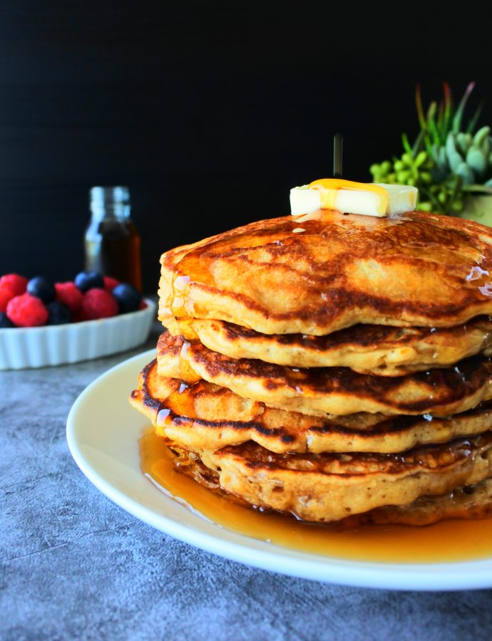 100% Whole Wheat Buttermilk Pancakes