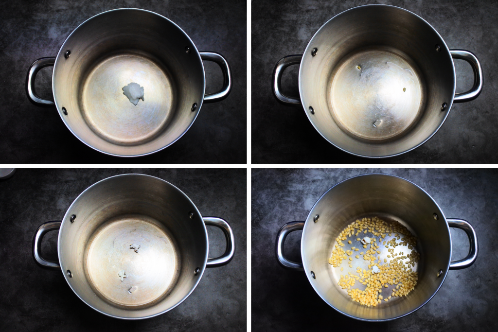 A composite overhead image of popcorn being popped in oil in a pot