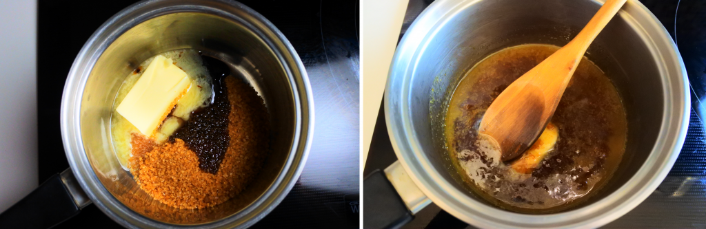A composite image of ingredients for a caramel in a pot being slowly melted together