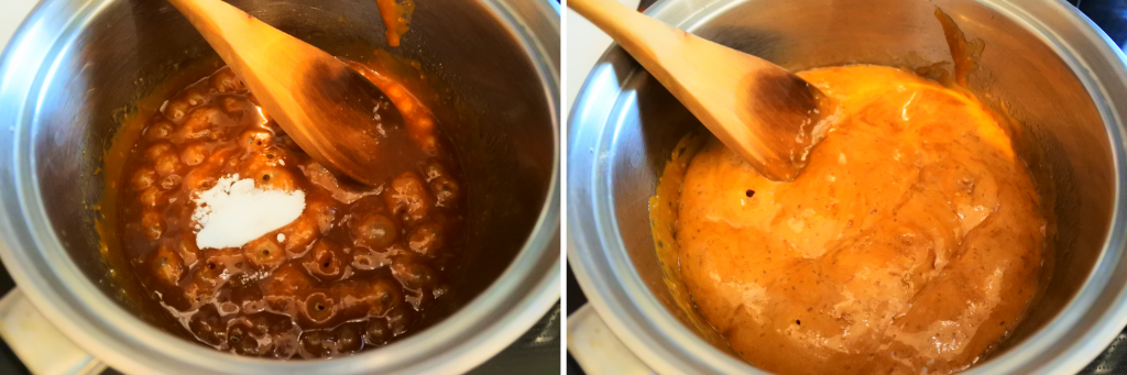 A composite image of baking soda being stirred into simmering caramel