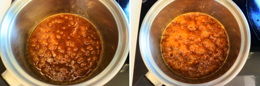 A composite image of caramel simmering in a pot