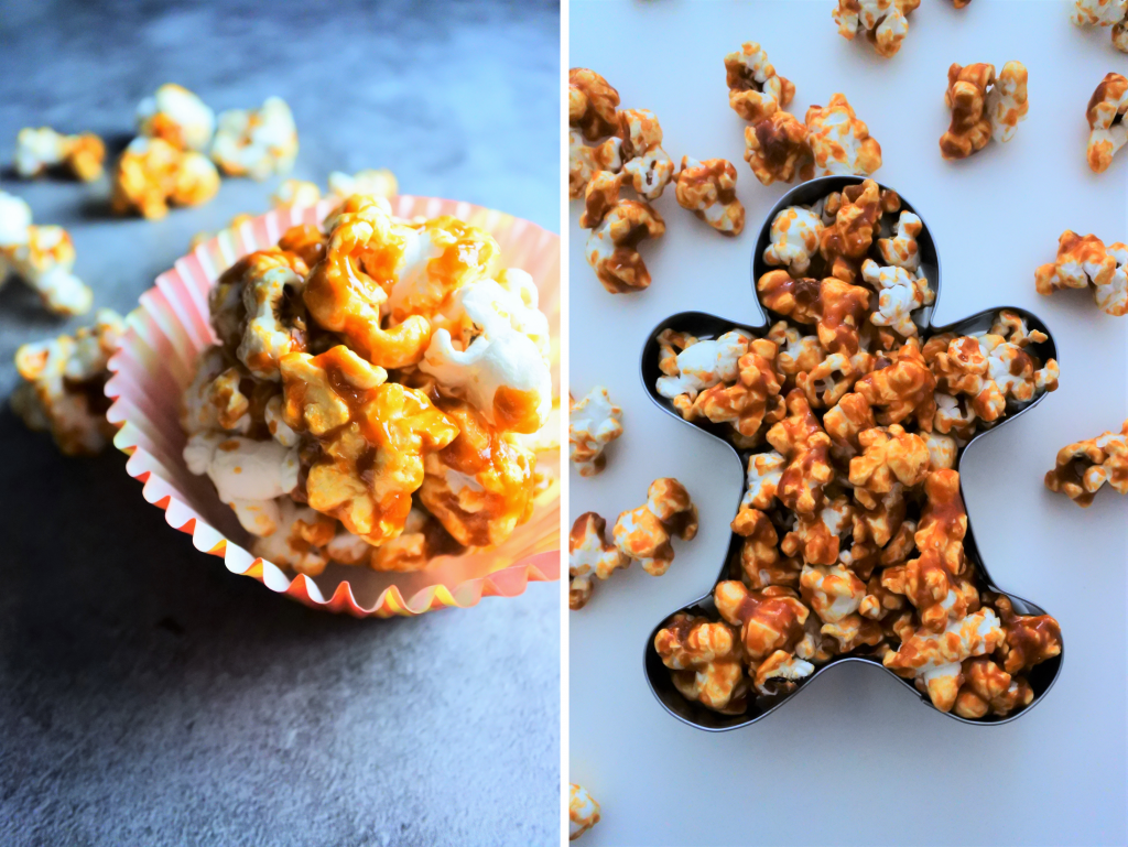A composite image of caramel popcorn shaped into a ball and a gingerbread man cookie cutter mold