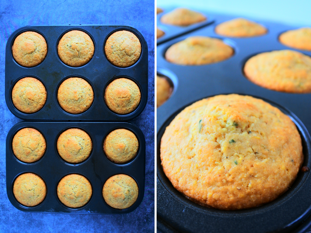A composite image of baked cornbread muffins.