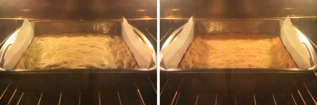 A composite image of a pan of boterkoek being baked in the oven
