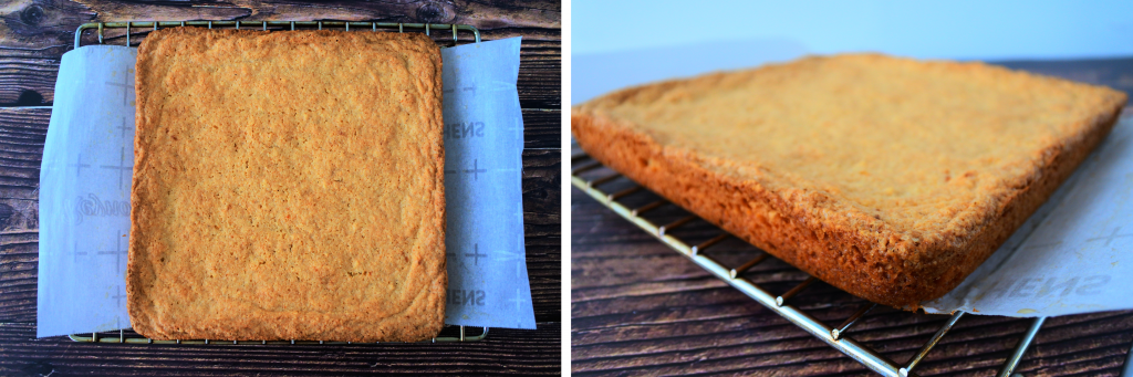 A composite image of a baked tray of boterkoek removed from the pan and placed onto a cooling rack
