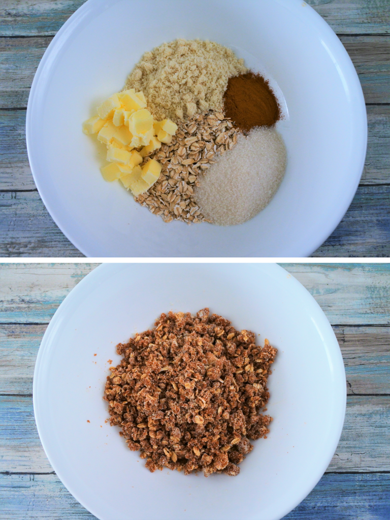 A composite image of ingredients being combined to create a streusel topping
