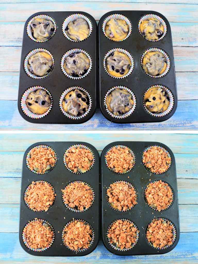 A composite image of batter for blueberry streusel muffins in muffin molds with streusel crumble topping added on top.