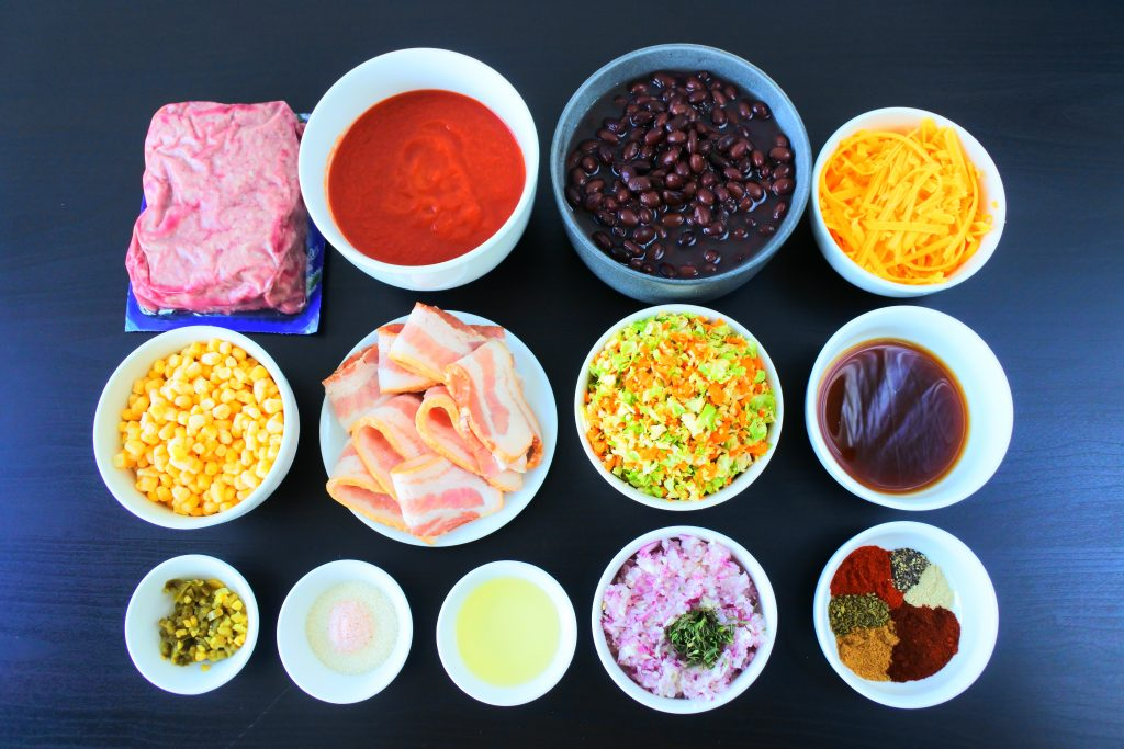 An over head image of ingredients for Kitrusys chili con carne