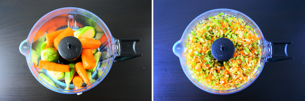 A composite image of carrots and Brussel sprouts being finely minced in a food processor