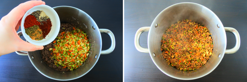 A composite image of a pot with cooked ground beef and vegetables with spices being added and mixed in