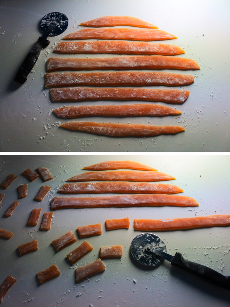 A composite image of cooled ginger honey candy dusted in cornstarch that is being cut into strips