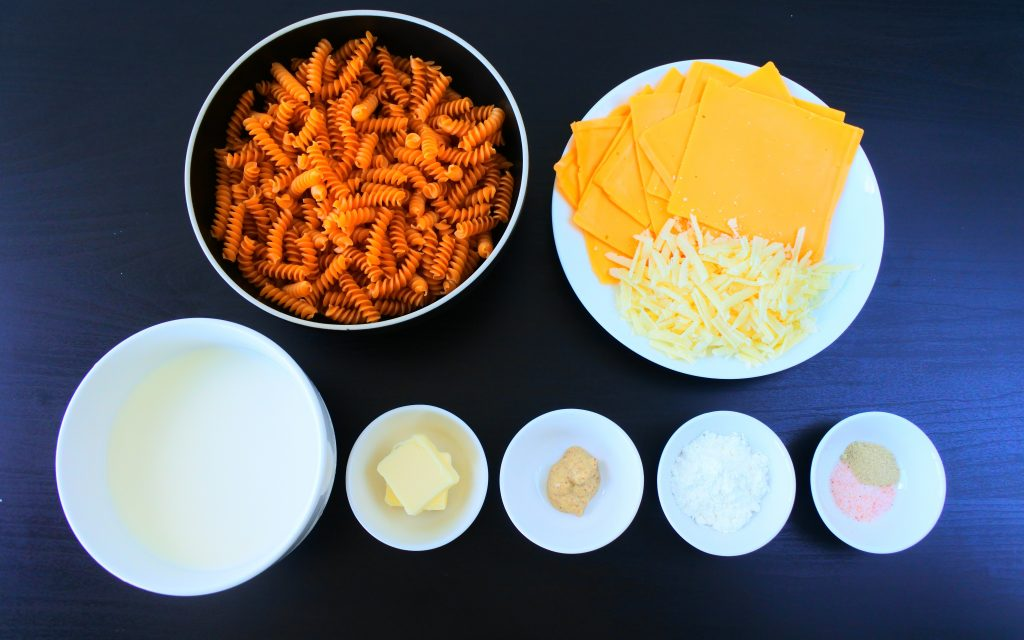 An overhead image of ingredients for a gluten free mac and cheese