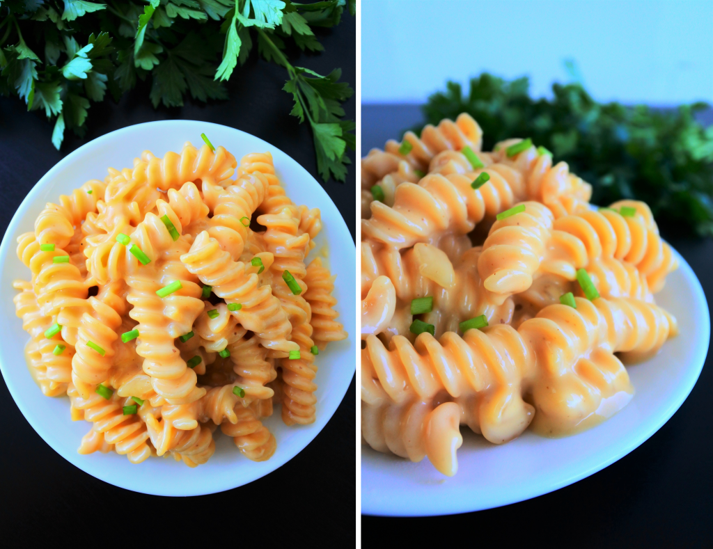 A composite image of gluten free mac and cheese topped with chipped chives