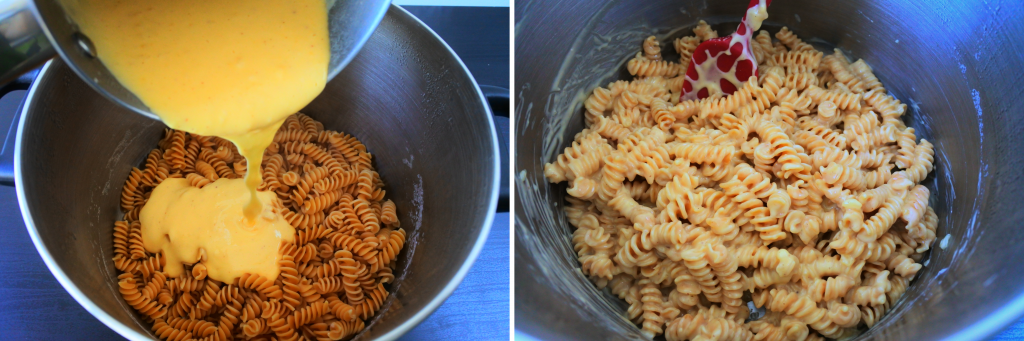 A composite image of cheese sauce being added to and mixed in with cooked pasta