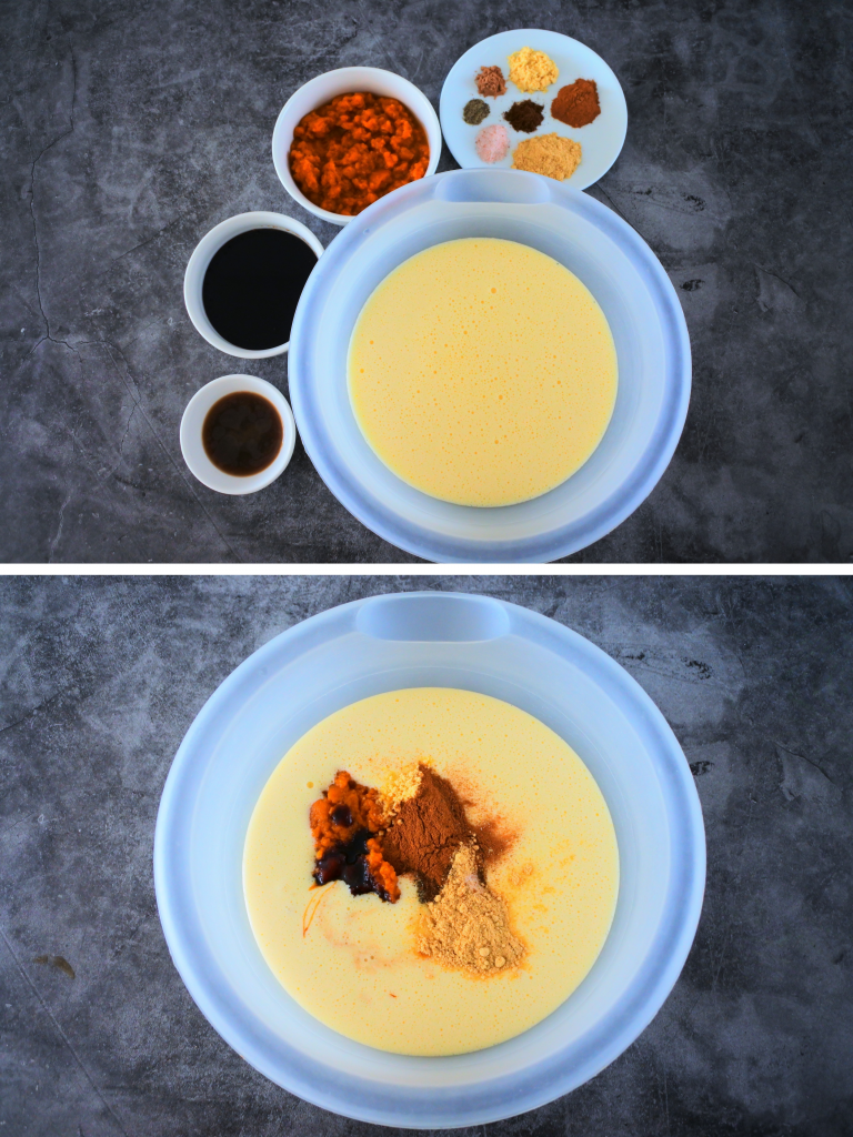 A composite image of ingredients to be added into an egg and sugar mix including spices, pumpkin puree, molasses and extracts