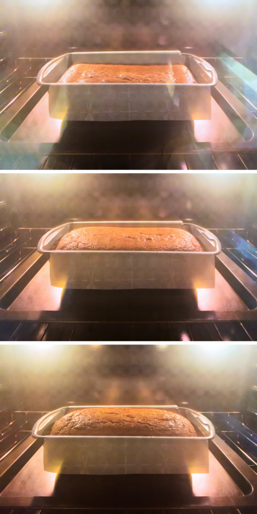 A composite image of a loaf of pumpkin spice bread as it bakes in the oven